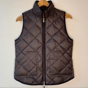 J. Crew Quilted Grey Puffer Vest Small